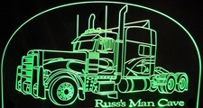 2000 Peterbilt Semi Acrylic Lighted Edge Lit LED Sign / Light Up Plaque Full Size Made in USA