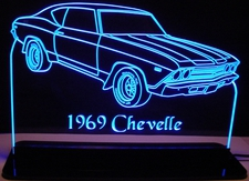 1969 Chevy Chevelle Acrylic Lighted Edge Lit LED Car Sign / Light Up Plaque Chevrolet