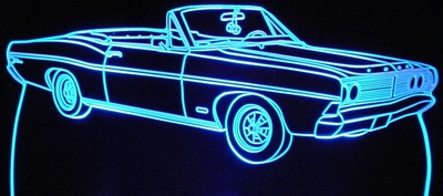 1968 Ford Galaxie 500 Convertible Acrylic Lighted Edge Lit LED Car Sign / Light Up Plaque