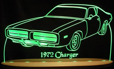 1972 Dodge Charger Acrylic Lighted Edge Lit LED Car Sign / Light Up Plaque