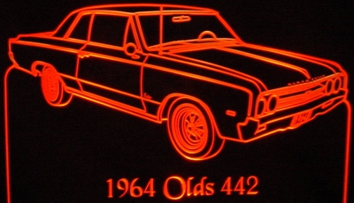 1964 Olds 442 Acrylic Lighted Edge Lit LED Car Sign / Light Up Plaque Oldsmobile