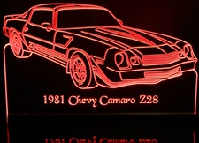 1981 Chevy Camaro  Z28 RH Acrylic Lighted Edge Lit LED Car Sign / Light Up Plaque Chevrolet