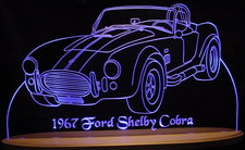 1967 Ford Shelby Cobra Acrylic Lighted Edge Lit LED Car Sign / Light Up Plaque