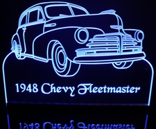 1948 Chevy Fleetmaster Acrylic Lighted Edge Lit LED Car Sign / Light Up Plaque Chevrolet