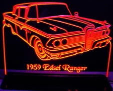 1959 Edsel Ranger Acrylic Lighted Edge Lit LED Sign / Light Up Plaque Full Size Made in USA