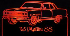 1965 Chevy Malibu SS Acrylic Lighted Edge Lit LED Car Sign / Light Up Plaque Chevrolet