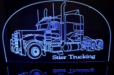Semi Truck Acrylic Lighted Edge Lit LED Sign / Light Up Plaque Full Size Made in USA