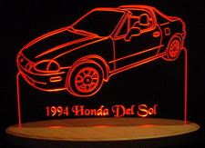 1994 Honda Del Sol Convertible Acrylic Lighted Edge Lit LED Car Sign / Light Up Plaque