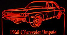 1968 Chevy Impala 4 Door Acrylic Lighted Edge Lit LED Car Sign / Light Up Plaque Chevrolet