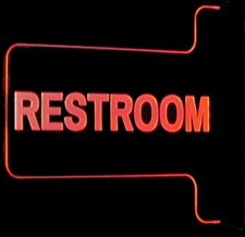 "Ladies Men Gents Restroom Bathroom Women 13"" only Right Mount Flag Style Acrylic Lighted Edge Lit LED Sign / Light Up Plaque Full Size USA Original"