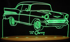 1957 Chevy Bel Air Acrylic Lighted Edge Lit LED Car Sign / Light Up Plaque Chevrolet Belair
