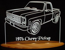1976 Chevy Stepside Pickup Truck Acrylic Lighted Edge Lit LED Sign / Light Up Plaque Chevrolet