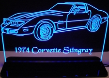 1974 Corvette Stingray Acrylic Lighted Edge Lit LED Sign / Light Up Plaque Full Size Made in USA