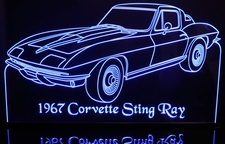1967 Corvette Stingray Acrylic Lighted Edge Lit LED Car Sign / Light Up Plaque