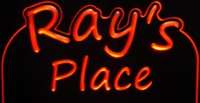 Ray's Rays Place Room Den Office You Name It Acrylic Lighted Edge Lit LED Sign / Light Up Plaque Full Size USA Original