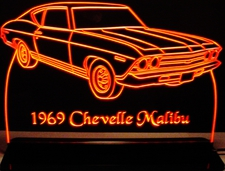 1969 Chevelle Malibu Chevrolet Acrylic Lighted Edge Lit LED Sign / Light Up Plaque Full Size Made in USA