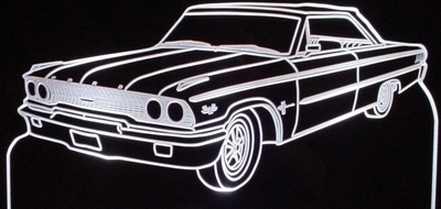 1963 Ford Galaxie Convertible Acrylic Lighted Edge Lit LED Sign / Light Up Plaque Full Size Made in USA