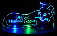 Cat Milford Acrylic Lighted Edge Lit LED Cat  Sign / Light Up Kitten Plaque