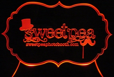 Sweet Pea Advertising Business Design Logo Acrylic Lighted Edge Lit LED Sign / Light Up Plaque