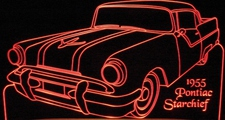 1955 Pontiac Starchief Acrylic Lighted Edge Lit LED Sign / Light Up Plaque Full Size Made in USA