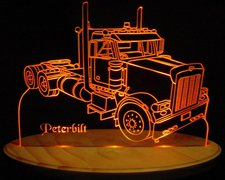 Semi Peterbilt Acrylic Lighted Edge Lit LED Truck Sign / Light Up Plaque