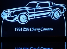 1981 Camaro Z28 Acrylic Lighted Edge Lit LED Sign / Light Up Plaque Full Size Made in USA