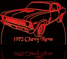 1972 Chevy Nova Acrylic Lighted Edge Lit LED Sign / Light Up Plaque Chevrolet Full Size Made in USA