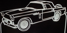 1956 Ford Tbird Acrylic Lighted Edge Lit LED Sign / Light Up Plaque Thunderbird Full Size Made in USA