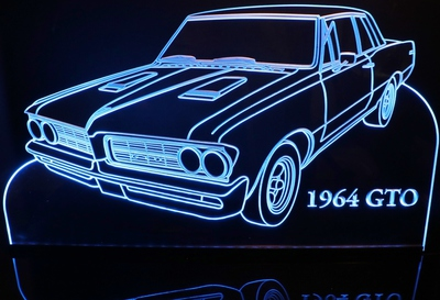 1964 GTO Acrylic Lighted Edge Lit LED Sign / Light Up Plaque Full Size Made in USA