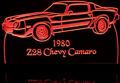 1980 Chevy Camaro Z28 Acrylic Lighted Edge Lit LED Car Sign / Light Up Plaque Chevrolet