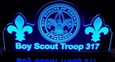 Boy Scouts Acrylic Lighted Edge Lit LED Sign / Light Up Plaque Full Size Made in USA