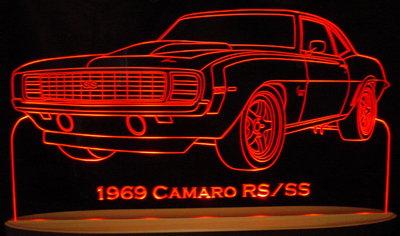 1969 Chevy Camaro RS/SS Acrylic Lighted Edge Lit LED Car Sign / Light Up Plaque Chevrolet