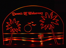 Dawns SAMPLE ONLY Advertising Business Logo Acrylic Lighted Edge Lit Sign/ Light Up Plaque