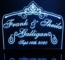 Wedding Anniversary Tabletop Centerpiece Acrylic Lighted Edge Lit LED Sign / Light Up Plaque