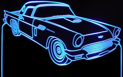 1957 Tbird Acrylic Lighted Edge Lit LED Car Sign / Light Up Plaque Thunderbird Ford text