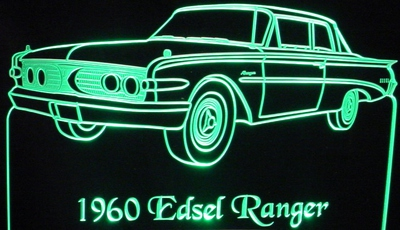 1960 Edsel Ranger Acrylic Lighted Edge Lit LED Car Sign / Light Up Plaque