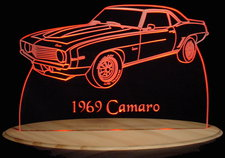 1969 Camaro Acrylic Lighted Edge Lit LED Car Sign / Light Up Plaque Chevrolet