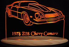 1978 Camaro Z28 Acrylic Lighted Edge Lit LED Car Sign / Light Up Plaque Chevrolet