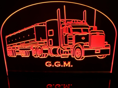 Semi with Trailer 3356 Acrylic Lighted Edge Lit LED Sign / Light Up Plaque