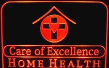 Care of Excellence SAMPLE (not for sale) Advertising Business Logo Acrylic Lighted Edge Lit LED Car Sign / Light Up Plaque