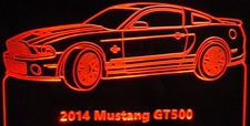 2014 Mustang GT500 GT 500 Acrylic Lighted Edge Lit LED Sign / Light Up Plaque Full Size USA Original