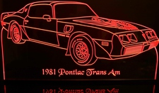 1981 Trans Am Acrylic Lighted Edge Lit LED Car Sign / Light Up Plaque Full Size USA Original
