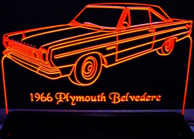 1966 Plymouth Belvedere Sedan Acrylic Lighted Edge Lit LED Sign / Light Up Plaque Full Size USA Original