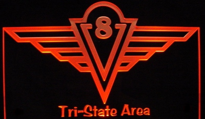V 8 Wings Award Trophy Logo Acrylic Lighted Edge Lit LED Sign / Light Up Plaque Full Size USA Original