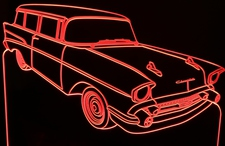 1957 Chevy Station Wagon SW Acrylic Lighted Edge Lit LED Sign / Light Up Plaque Full Size USA Original