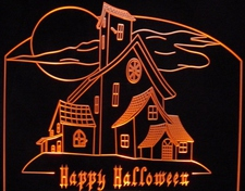 Halloween Haunted House Spooky Ghost Mansion Acrylic Lighted Edge Lit LED Sign / Light Up Plaque