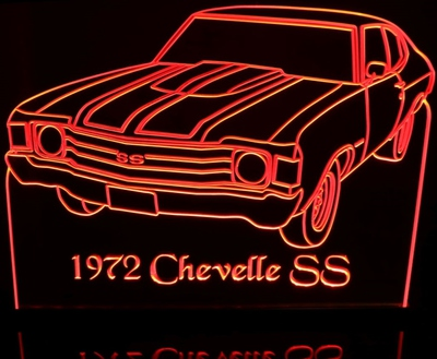 1972 Chevrolet Chevelle SS Acrylic Lighted Edge Lit LED Car Sign / Light Up Plaque Chevy