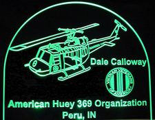 Helicopter Huey Award Vietnam Trophy SAMPLE Acrylic Lighted Edge Lit LED Sign / Light Up Plaque Full Size USA Original