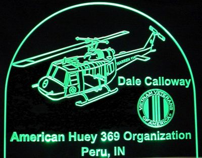 Helicopter Award Vietnam Trophy Acrylic Lighted Edge Lit LED Sign / Light Up Plaque Full Size Made in USA