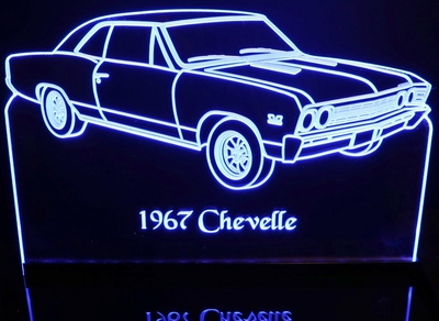1967 Chevrolet Chevelle Acrylic Lighted Edge Lit LED Sign / Light Up Plaque Chevy Full Size Made in USA